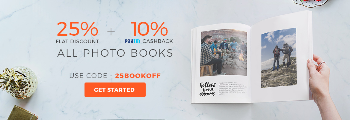 25% Off on all Photo Books, Use code - 25BOOKOFF.