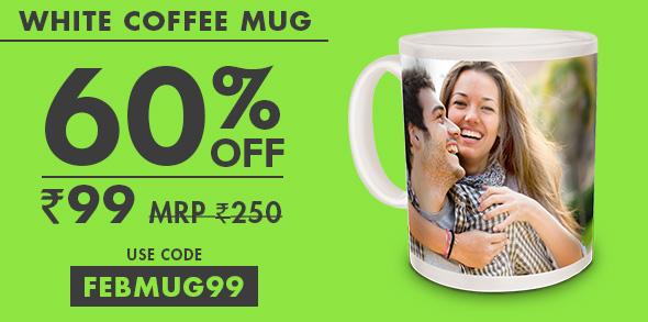 WHITE COFFEE MUG AT JUST RS. 99 MRP RS. 250 - USE CODE: FEBMUG99