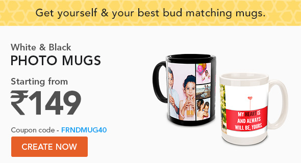 White & Black Photo Mugs- coupon code - FRNDMUG40