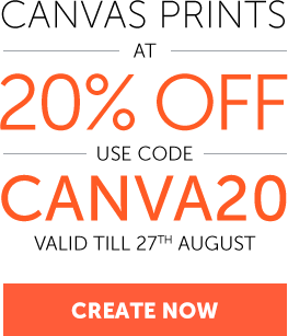20% off on Canvas Prints. Use Code - CANVA20
